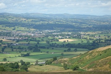 Ruthin in the valley below