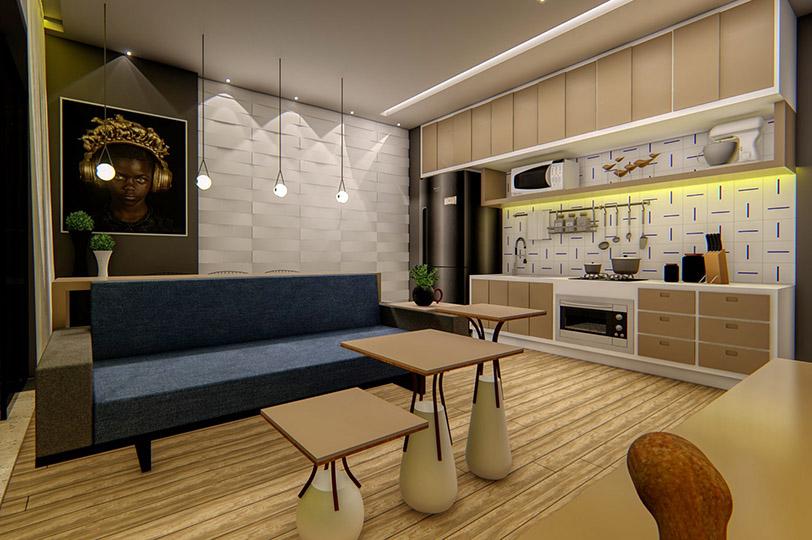 Apartamento de 1 quarto projetado para um jovem advogado e seu cachorro