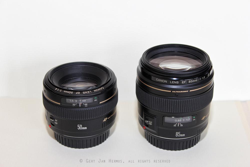 Canon EF-50mm f/1.4 USM en Canon EF-85mm f/1.8 USM