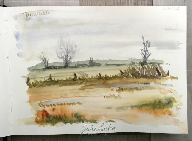 Natur Skizzenbuch im Herbst, Herbst-Landschaftr, Aquarell, Herbsttöne mischen