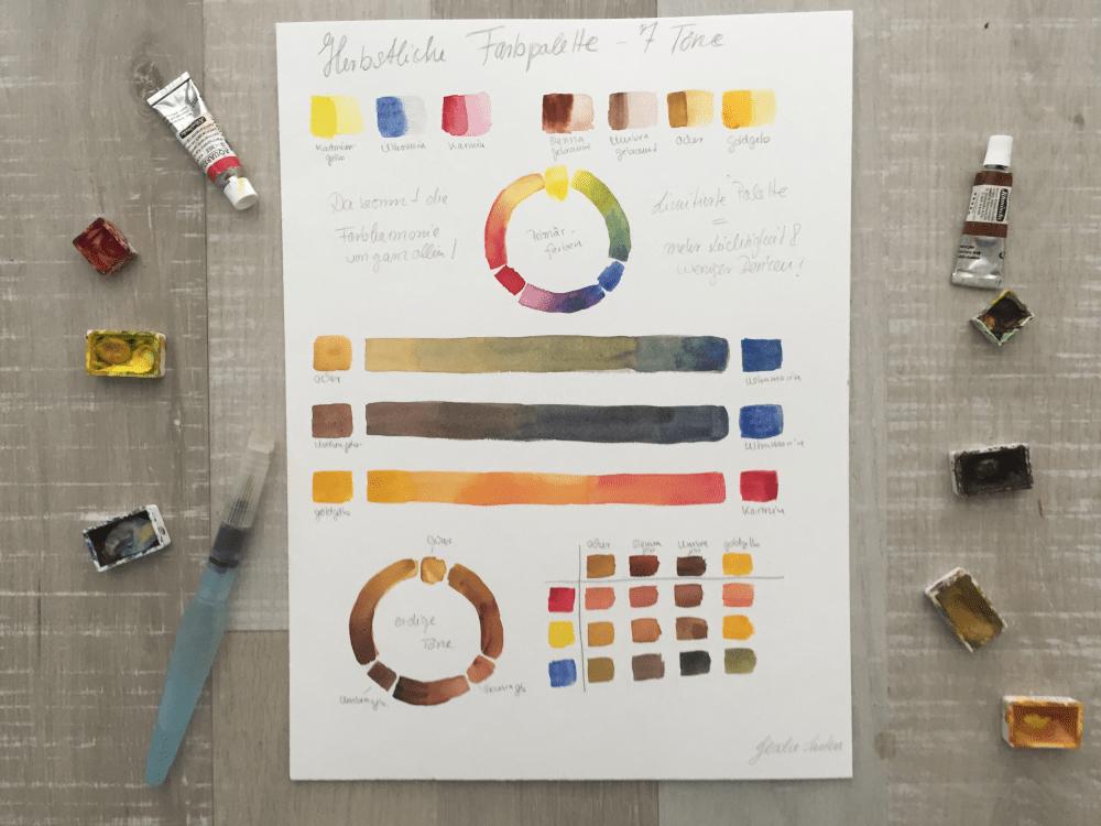 Stimmungsvolle Aquarelle durch eine begrenzten Farbpalette – Meine liebsten Farbtöne im Herbst