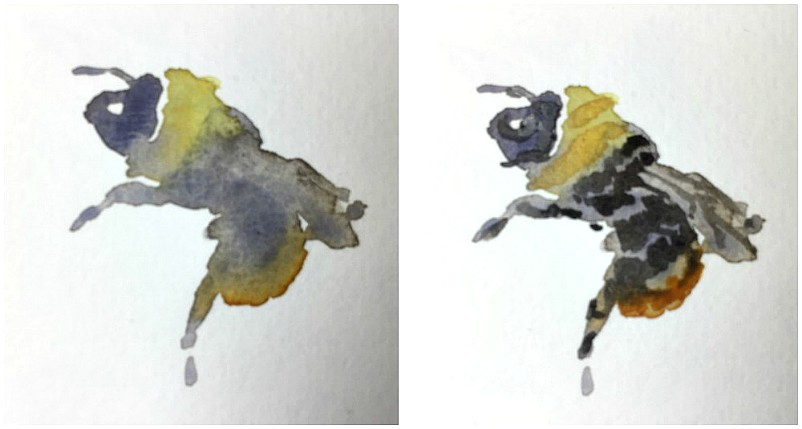 Bienen und Hummeln im Skizzenbuch, schnelle Aquarellskizzen - Gesche Santen Blog