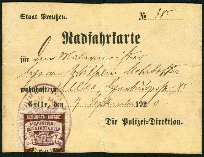 1920-Radfahrkarte