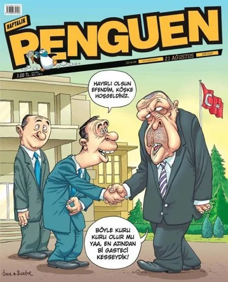 Karikatur von Bahadir Baruter und Ozer Aydoganin im Journal Penguen, Quelle: https://www.ifex.org/turkey/2015/03/25/cartoonists_charged/