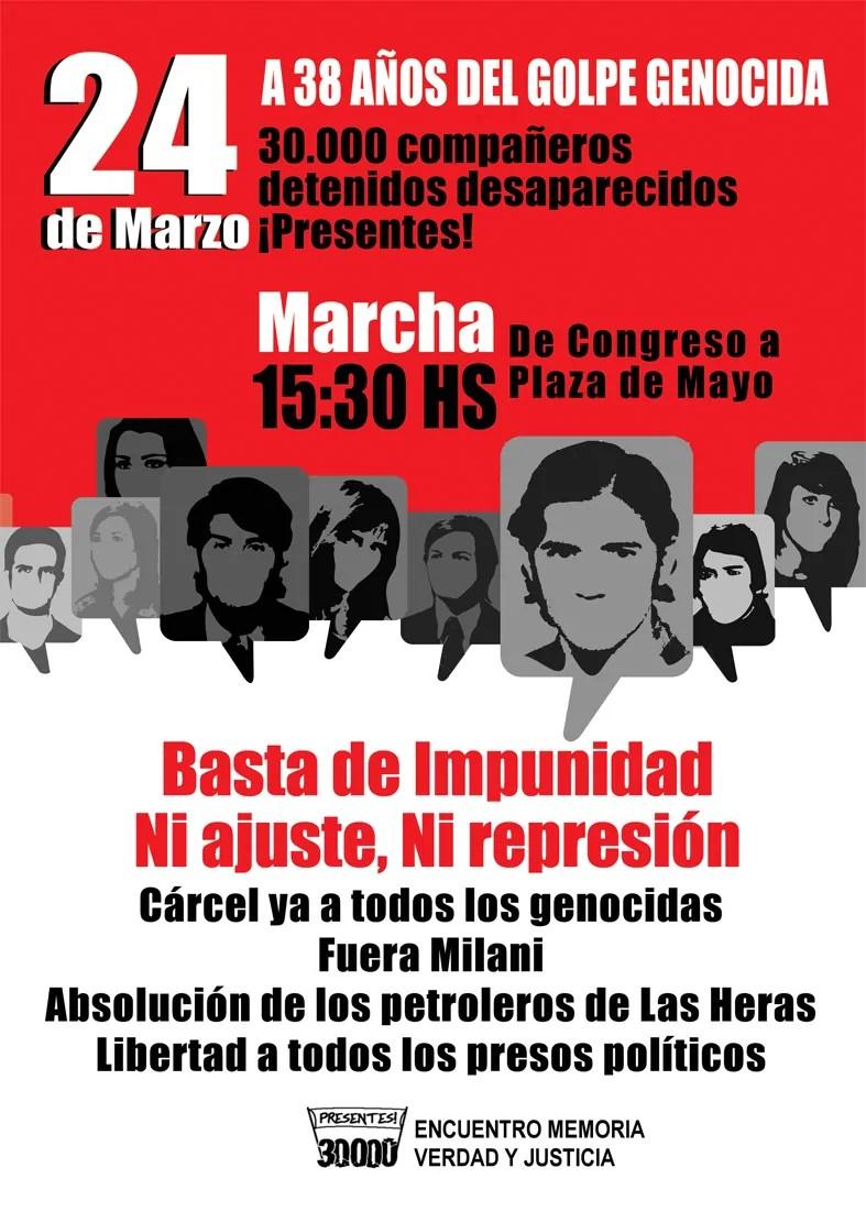 Plakat des Bündnisses Encuentra Memoria, Verdad y Justicia; Quelle: encuentromvyj.org