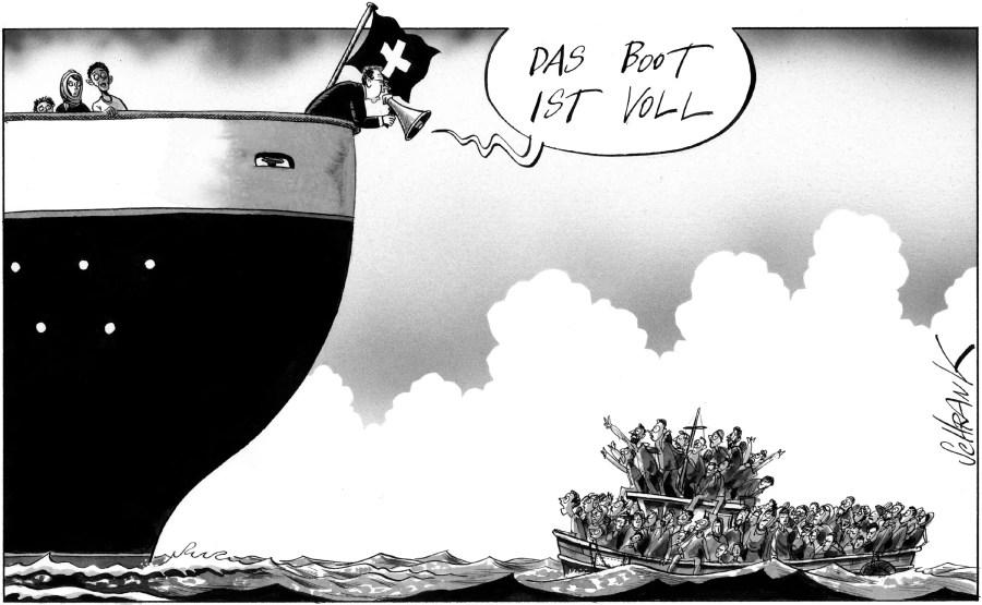 """Der Karikaturist setzt voraus, dass das """"volle Boot"""" eine allgemein bekannte Metapher ist; Quelle: Basler Zeitung vom 8. August 2015"""