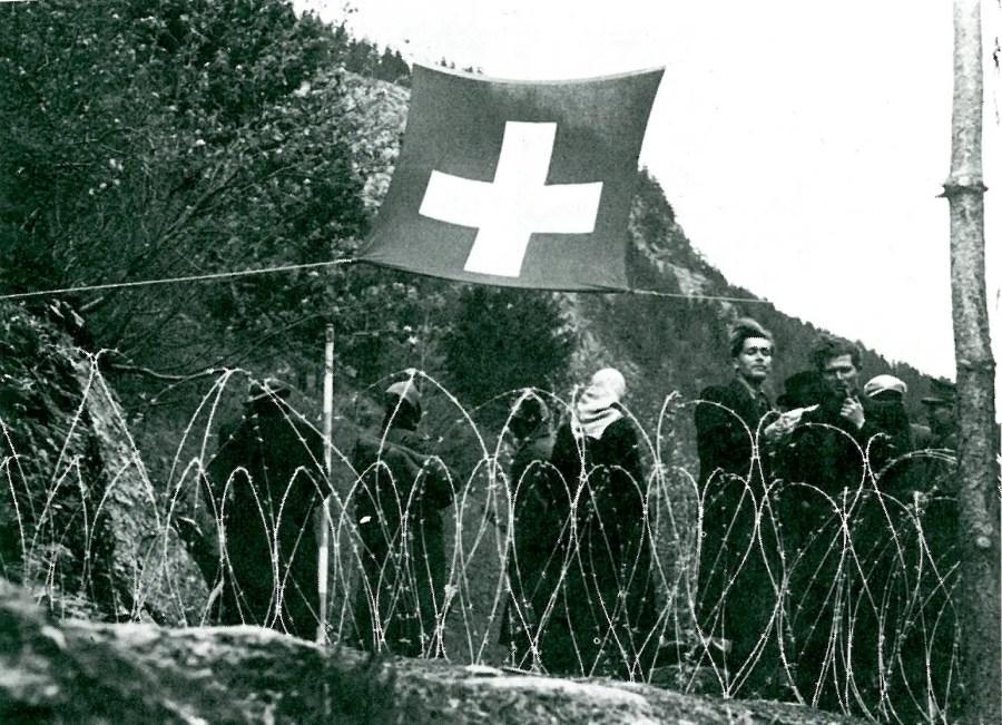 Ikone der schweizerischen Flüchtlingsabwehr während des Zweiten Weltkriegs; Quelle: Werner Rings, Die Schweiz im Krieg, 1974, S. 331