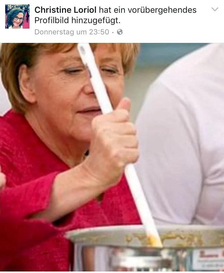 Angela Merkel am Herd; Quelle: facebook.com