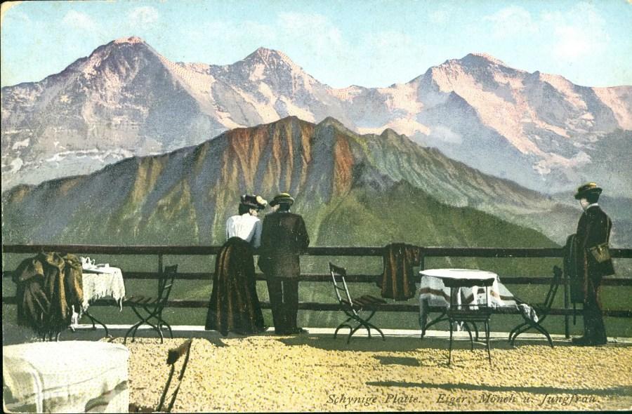 Blick von der Schynigen Platte auf Eiger, Mönch und Jungfrau, Postkarte, ca. 1900