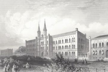 Diakonissenanstalt Bethanien und Mariannenplatz: Zeitgenössischer Stich von W. French. Sammlung: U. Horb