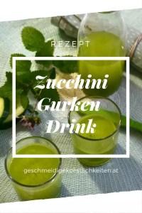 Sommerlicher Drink aus Zucchini, Gurke und Limette. Vegan