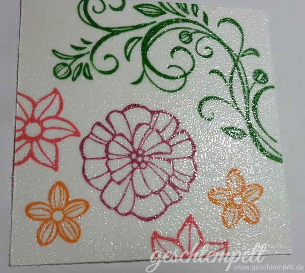 Stampin up, Dazzling Diamond Dust Technique, Anleitung in Bildern, Tutorial, Perfekt verpackt, Falling Flowers, perfectly wrapped