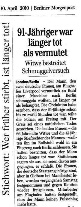 Wer früher stirbt, ist länger tot! Berliner Morgenpost
