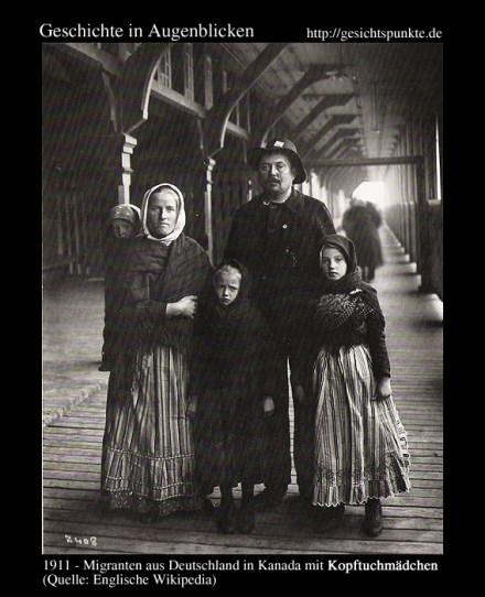 Deutsche Kopftuchmädchen mit Eltern - 1911/Kanada