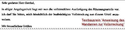 """Screenshot Rechtsanwalt-Textbaustein """"Zwangsvollstreckung"""""""