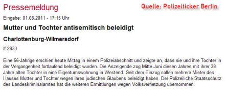 Antisemitismus in Deutschland - Polizeiticker Berlin