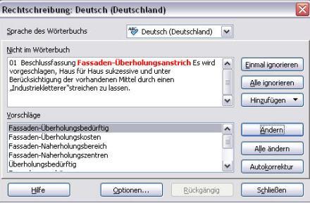 """Korrekturhilfe """"Fassaden-Überholungsanstrich"""""""