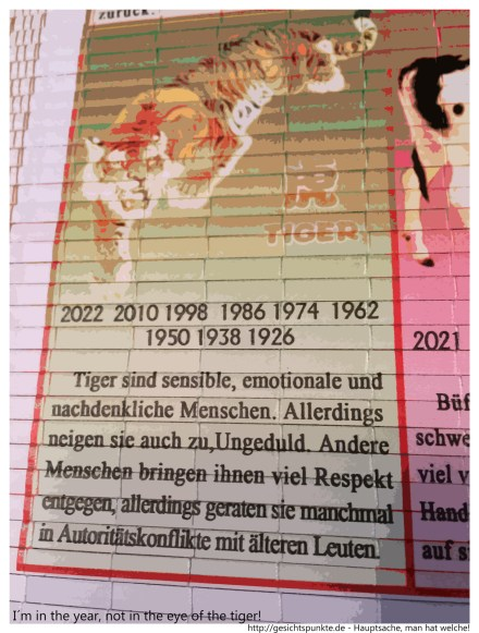 I´m in the year, not in the eye of the tiger!