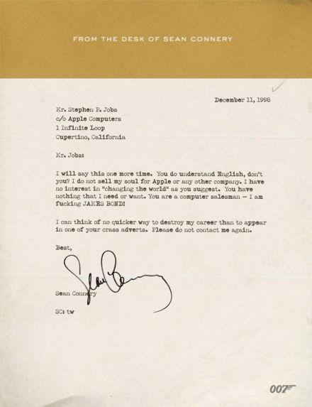 Sean Connery schreibt an Steve Jobs