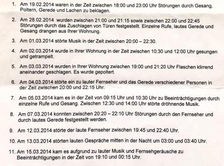 Ausriss aus der Nachbarschaftsbeschwerde gegen Ruby Tuesday in Berlin-Wilmersdorf