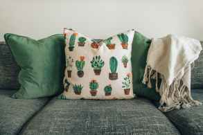 white and green throw pillows