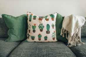 white and green throw pillows