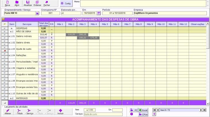Planejamento de Obra: Cronogramas Despesas e Receitas