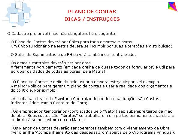 Plano de Contas Dicas Instruções