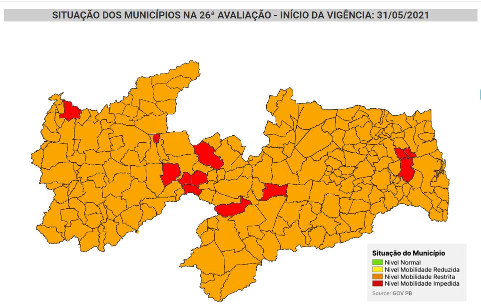 Sapé, Capim e Cuité de Mamanguape são classificados com bandeiras vermelhas no mapa da Covid na Paraíba