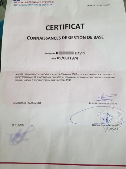 Certificat gestion de base David