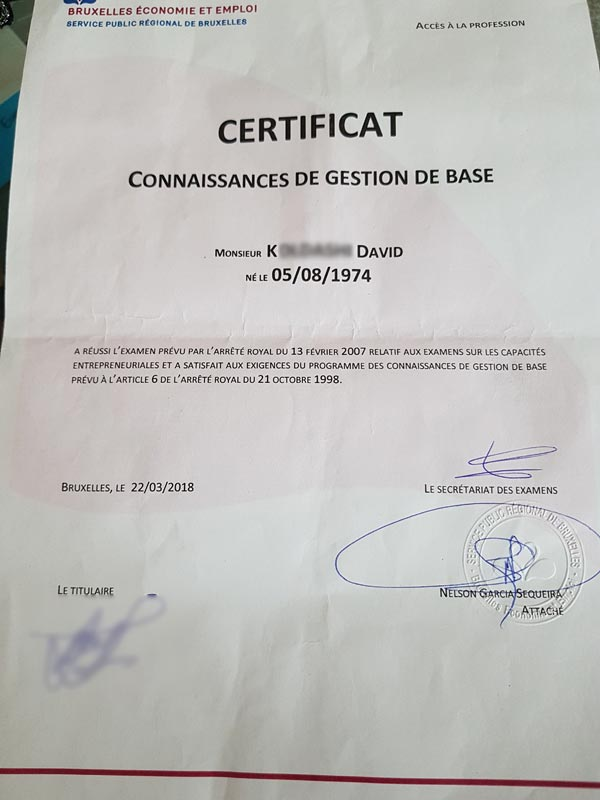 Certificat gestion de base David