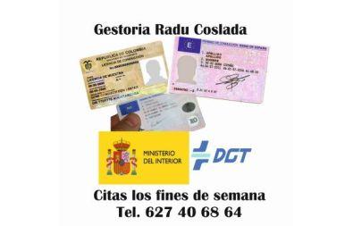 Canjes y trámites permiso de conducir fines de semana Madrid