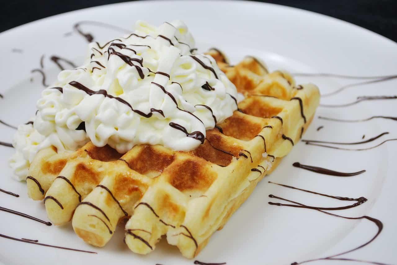 dessert waffel