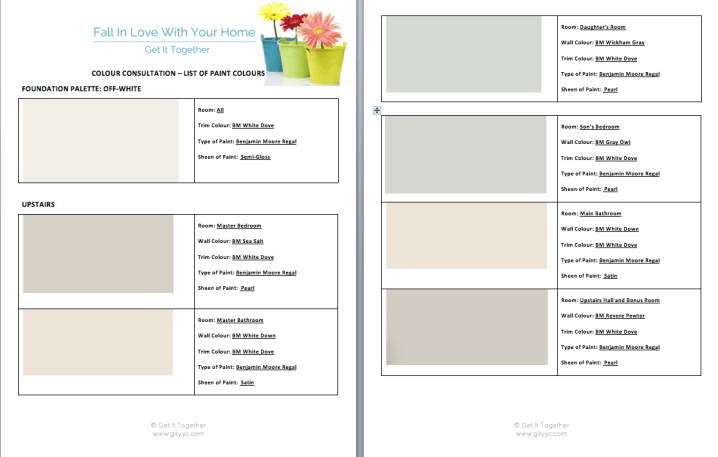 interior paint colour selections