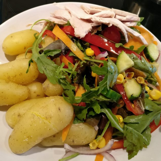 Salad, Potatoes and Turkey