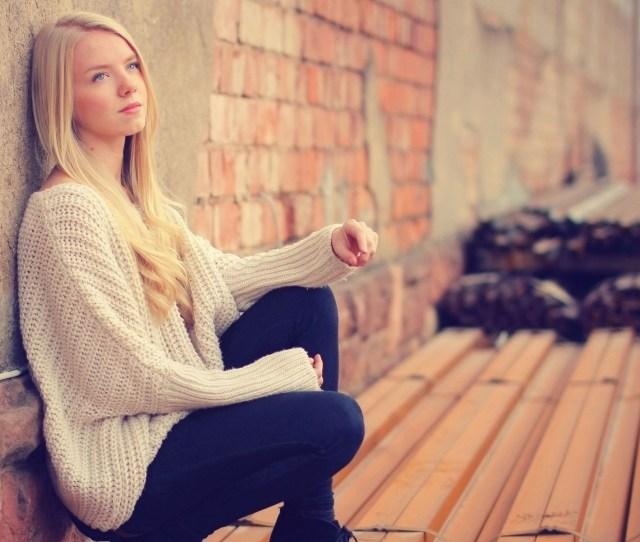 X Px Blonde Hair Jeans Looking Away Model Sitting Sweater Teen Women