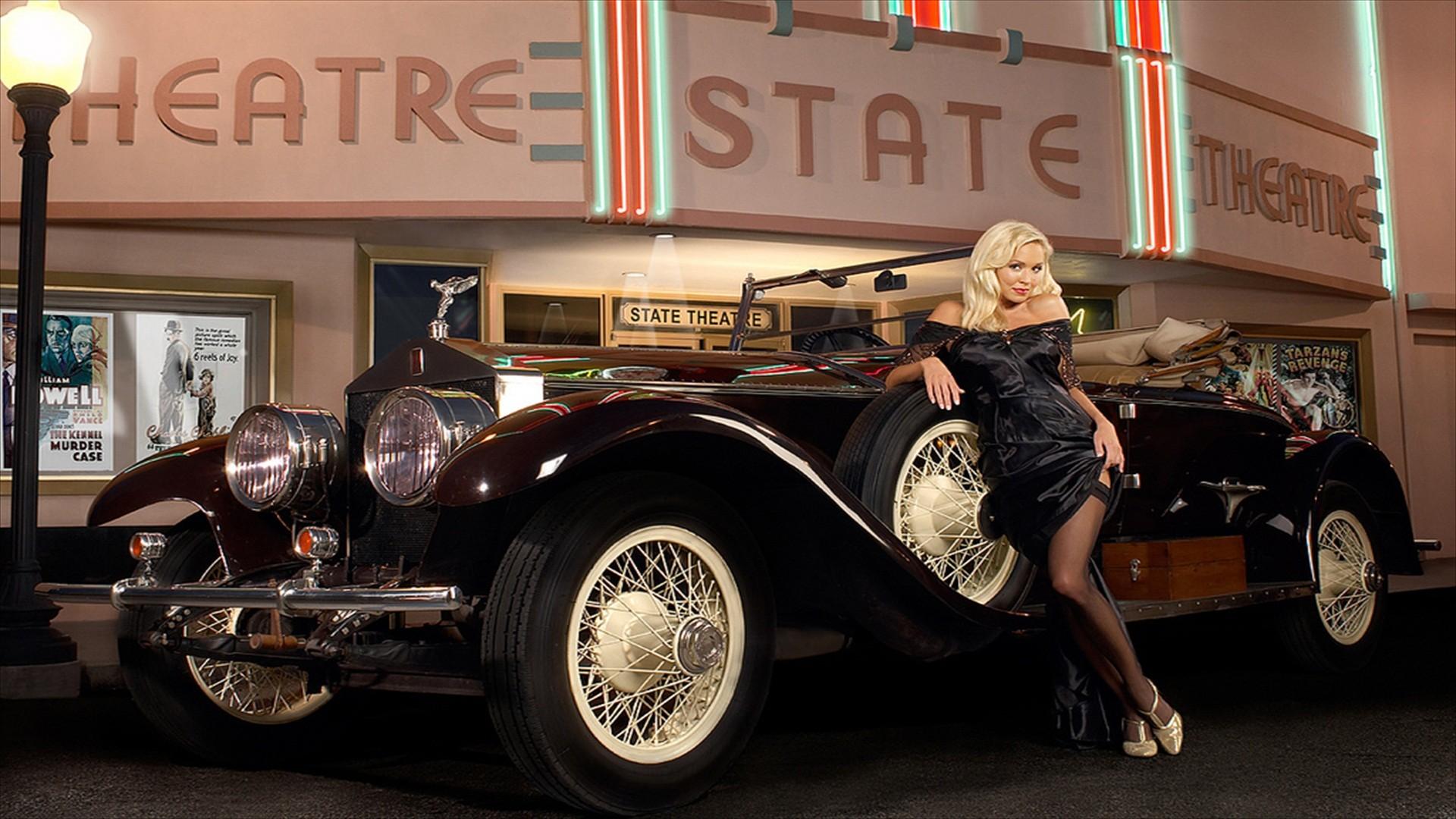 Wallpaper Sports Car Vintage Car Pinup Models