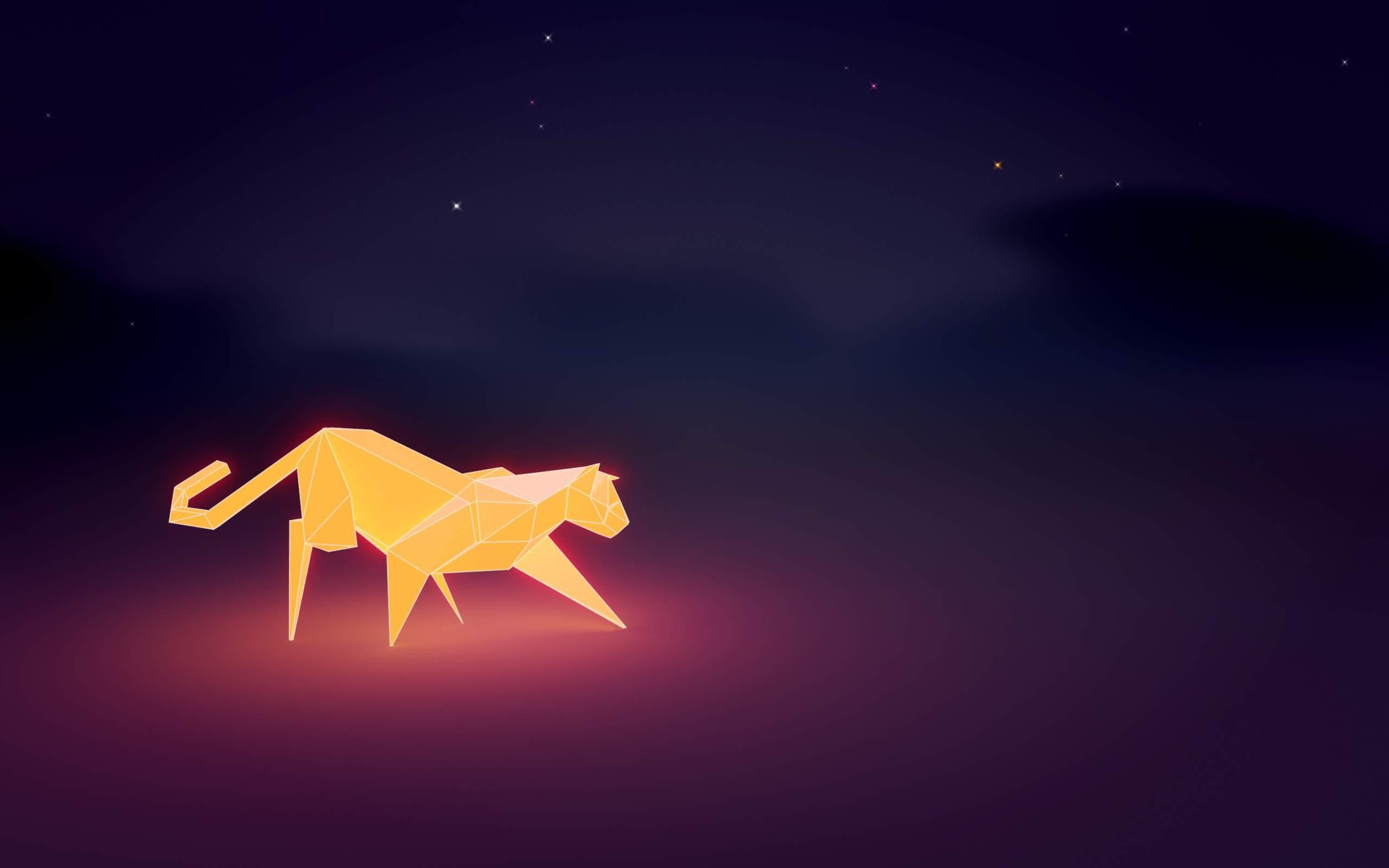 Wallpaper Illustration Cat Night Sky Low Poly Light