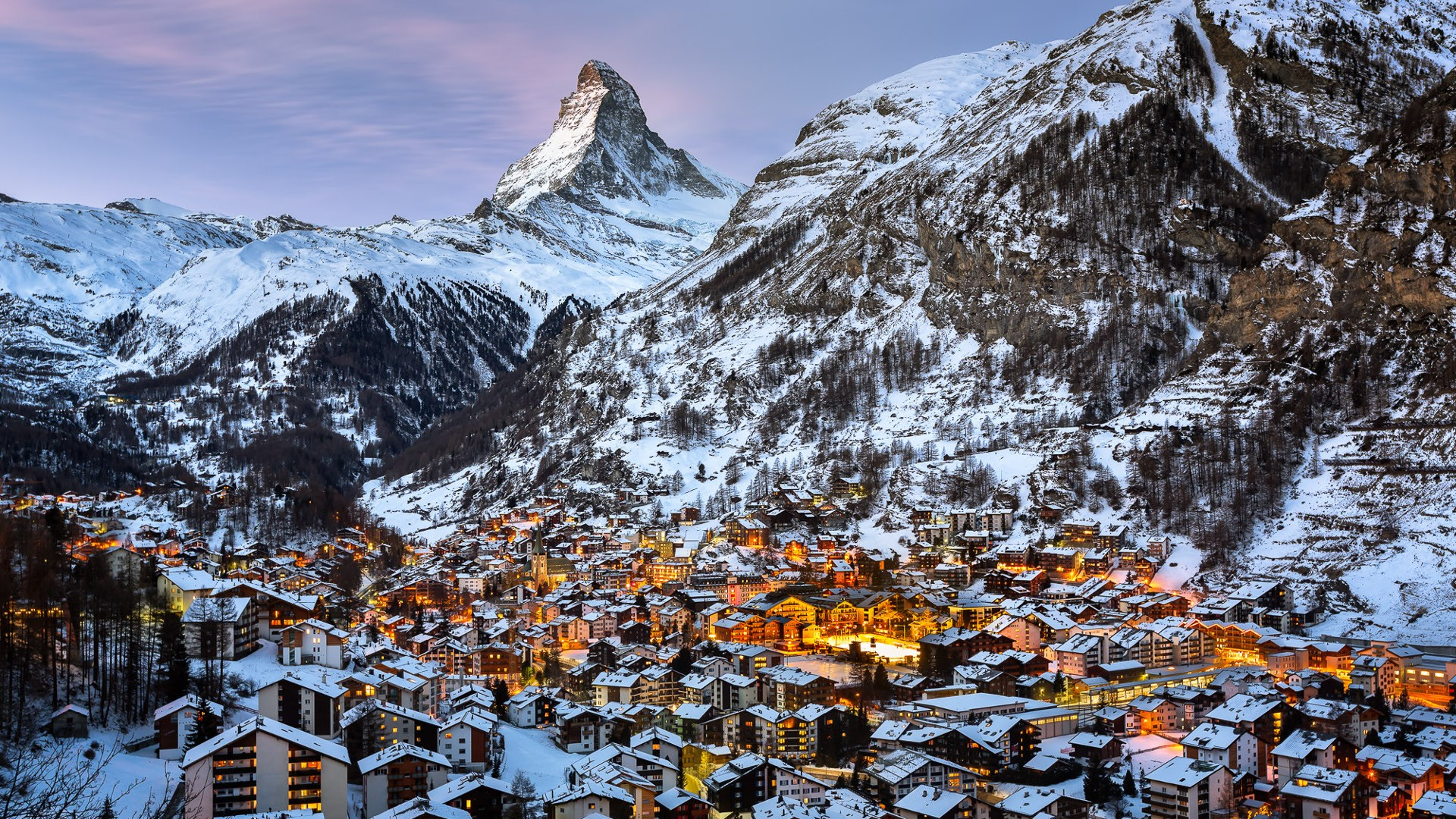 Wallpaper Landscape Lights Mountains City