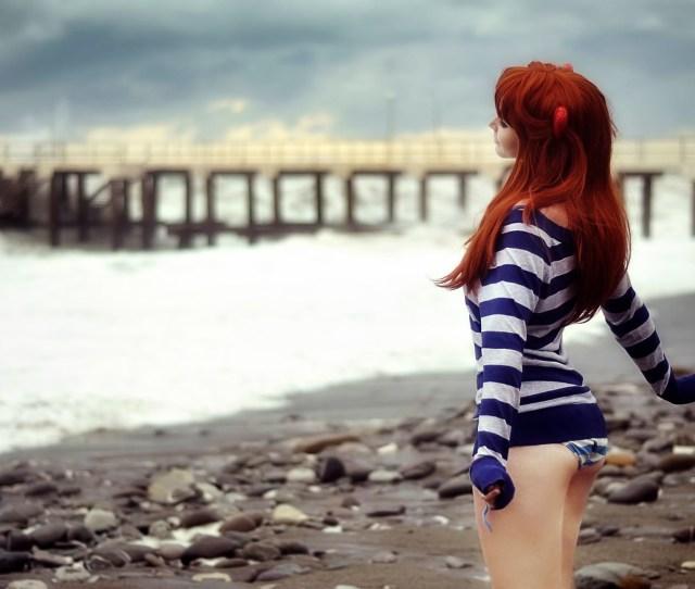 Model Sea Sand Ass Neon Genesis Evangelion Asuka Langley Soryu Photography Beach Fashion Pier Striped Clothing Pebbles Striped Sweaters