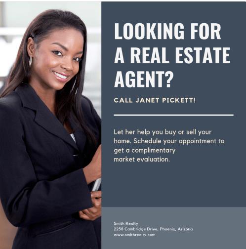 Cartel inmobiliario con los servicios de un asesor inmobiliario