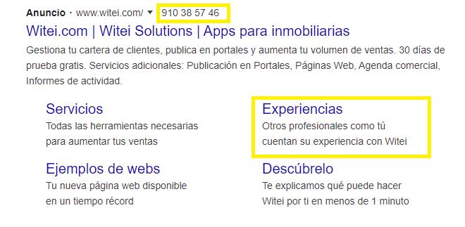 Ejemplo de anuncios de extensión de enlaces de sitio y de llamada.
