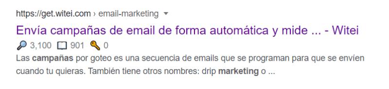 búsqueda en google sobre las campañas de email marketing.