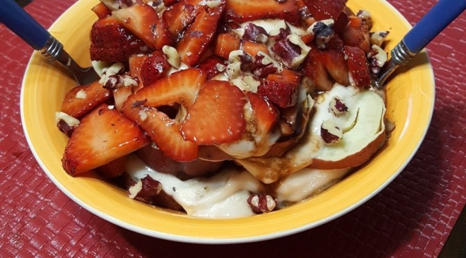 "Chocolate Balsamic Strawberry ""Yam Sundae"""
