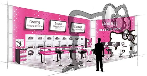 Downy/Hello Kitty – Experiential Design/Concept Rendering For Devries Public Relations