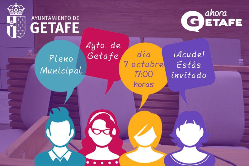 Banner animando a acudir a los plenos de la web del grupo municipal AHORA GETAFE