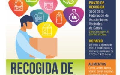 Recogida de alimentos en Getafe para las familias con escasez de recursos a causa de la crisis del Covid-19