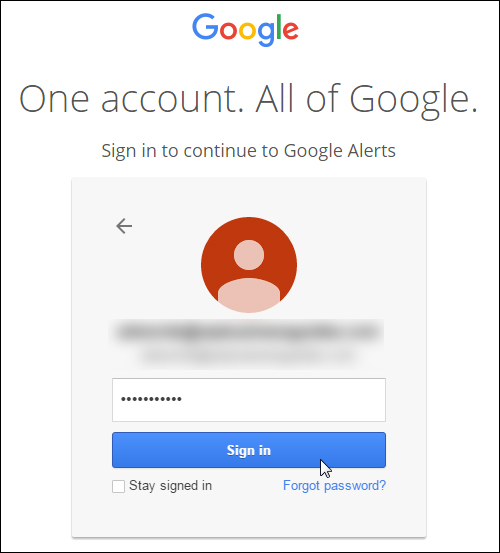 Use your Google Account to access services like Google Alerts
