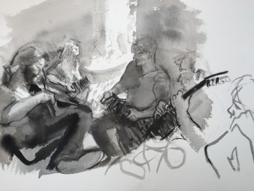 IMAGE: © Christine Molan / Angela Carter playing the concertina, Lansdown Sessions, Bristol 1967  2016 / Pen and wash drawing  courtesy the artist