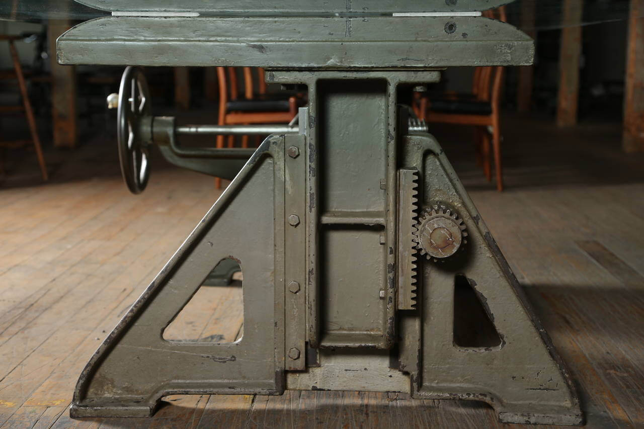 Industrial Crank Up Conference Table Vintage Industrial